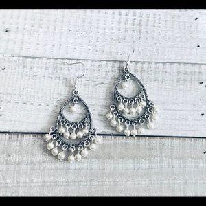 Bohemian White Pearl Oval Chandelier Earrings NWT